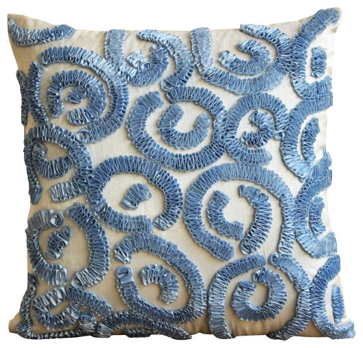 "Blue Art Silk 18""x18"" Ribbon Scroll Pillow Covers, Light Blue Sizzle."