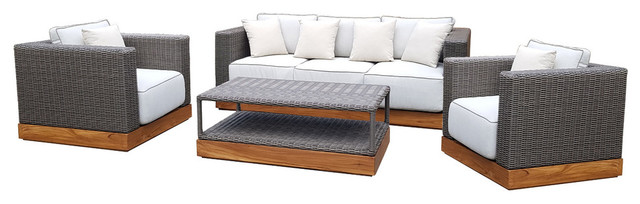 Indomod Luxury 4 Piece Patio Sofa Set Assembled With Cushions.