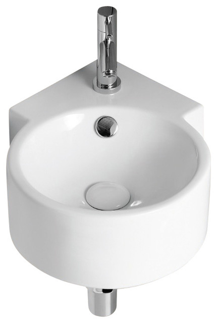 Round White Ceramic Wall Mounted Corner Bathroom Sink, One Hole.