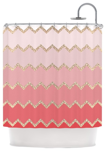 Monika Strigel Avalon Coral Ombre Pink Chevron Shower Curtain C