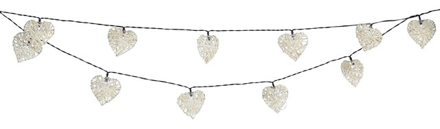Valenti LED Solar Powered Outdoor Rattan Heart String Lights with 20 White Light
