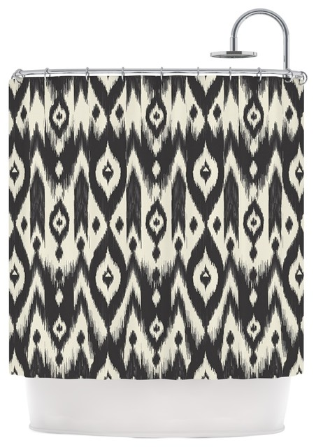 Amanda Lane  Black Cream Tribal Ikat  Tan Dark Shower Curtain contemporary  shower Amanda Lane  Black Cream Tribal Ikat  Tan Dark Shower Curtain  . Black And Cream Shower Curtain. Home Design Ideas