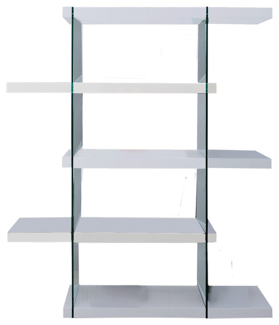Il Vetro High Gloss White Lacquer Bookcase By Casabianca Home.