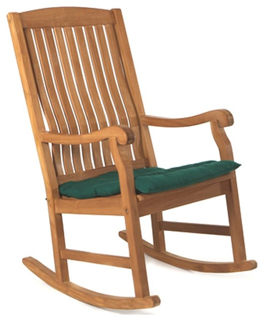 All Things Cedar Teak Rocking Chair Cushion Transitional Outdoor Chairs By The Porch Swing