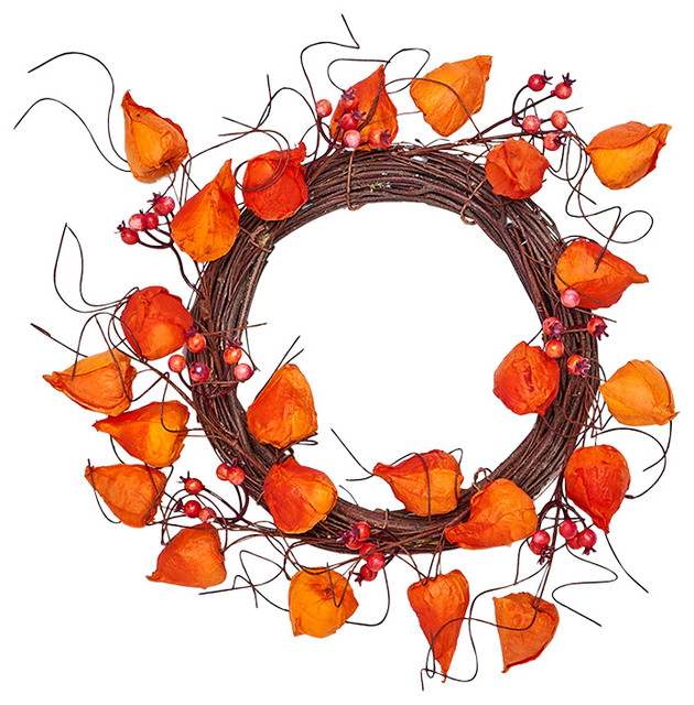 "Chinese Lantern Wreath, 12""."