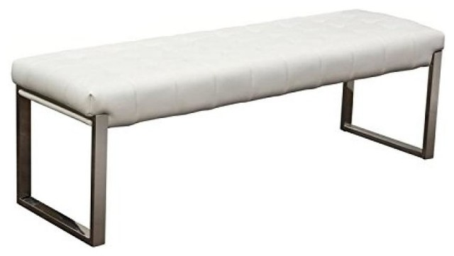 Backless And Tufted Bench With Stainless Steel Frame, White.
