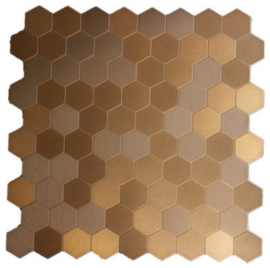 Moroccan Style Honeycomb Aluminum L And Stick Mosaic Tile Bronze 22 Sheets
