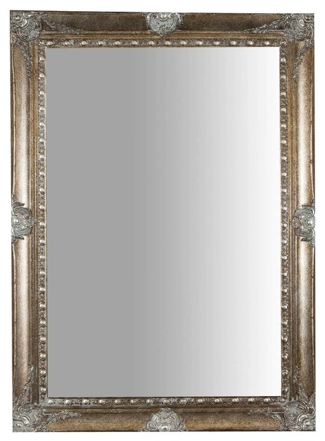 Baroque Wall Mirror, Antique Silver, 80x110 cm