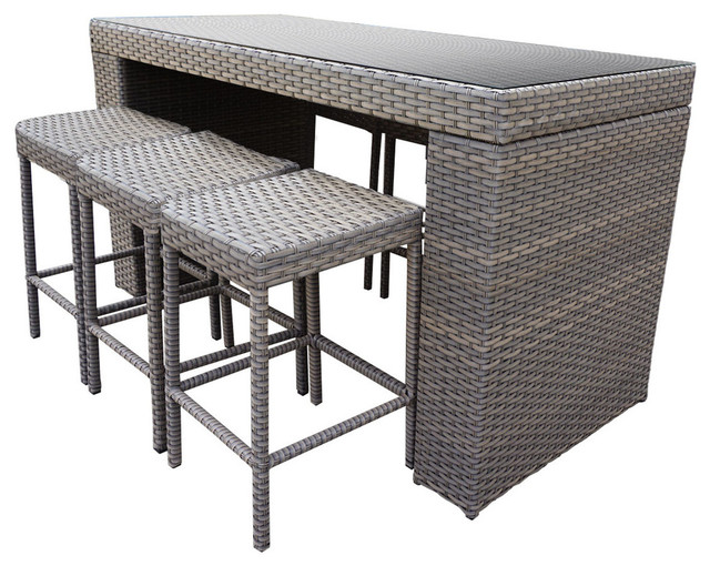 Oasis Bar Table Set With Backless Barstools   Tropical   Outdoor Dining Sets    By Design Furnishings