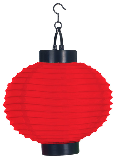 Outdoor Solar Led Chinese Lanterns Set Of 4 Red