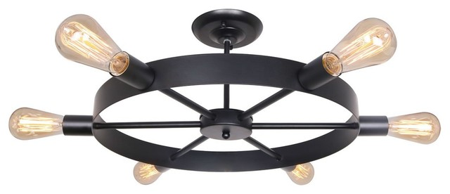 6 Lights Antique Black Metal Wheel Semi Flush Mount Ceiling Light.