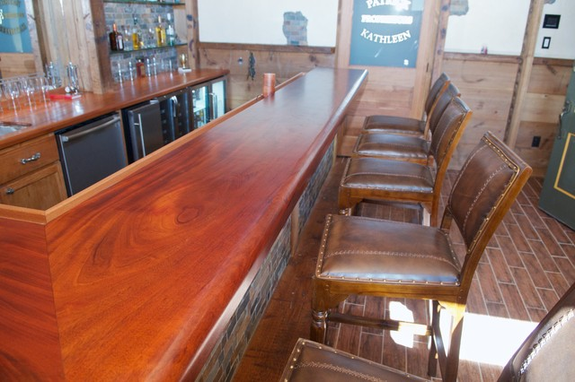 Attirant Barn Style Peruvian Mahogany Bar Top Traditional