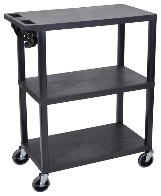 Luxor 3 Flat Shelves Black Presentation Station W, Electric Contemporary  Office Carts