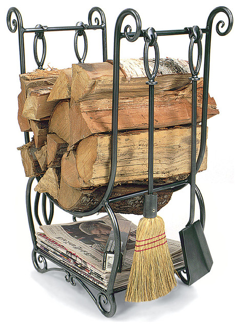 Country Wood Holder With Tools, 4-Piece Set