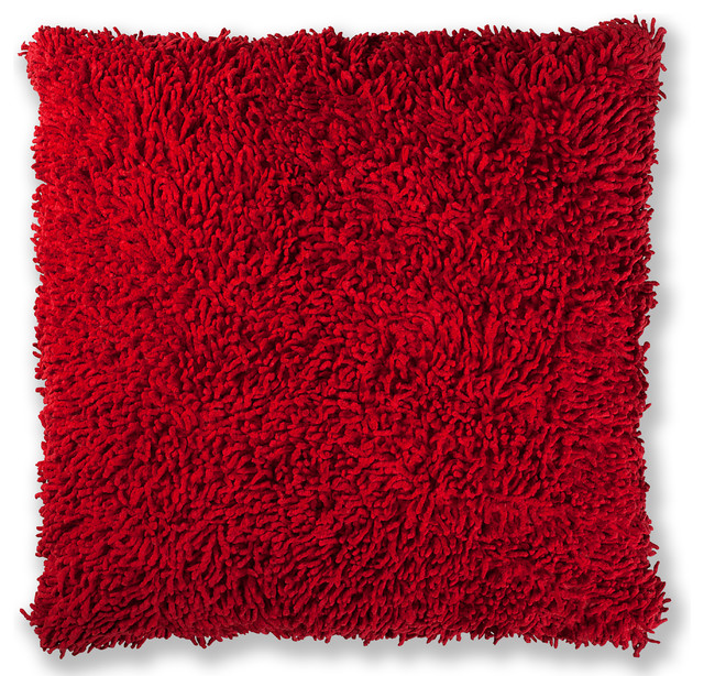 "Shagadelic Chenille Twist 27"" Double Sided Pillow, Red."
