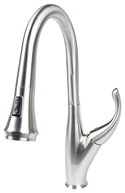 Cosmo Modern Luxury High Arc Pull-Down Tap Mixer Kitchen Faucet, Brushed Nickel.
