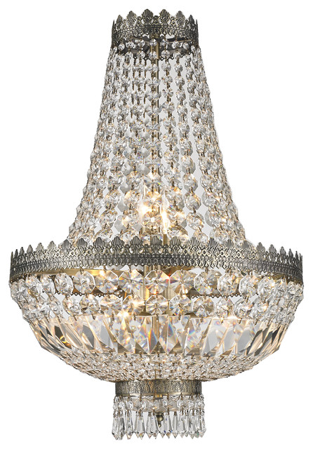 1d0e58374b French Empire 6-Light Antique Bronze Finish Clear Crystal Basket Mini  Chandelier