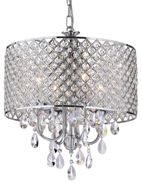 Marya 4-Light Chrome Round Beaded Drum Chandelier Hanging Crystals Glam