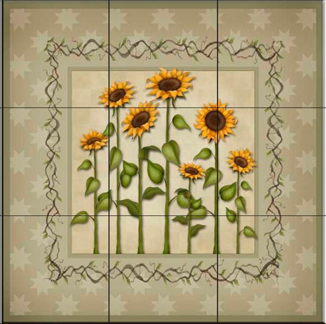 Tile Mural Sunflowers 3 Kitchen Backsplash Ideas