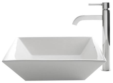 Kraus Flat Square Ceramic Vessel Sink, White, Ramus Faucet, Chrome.