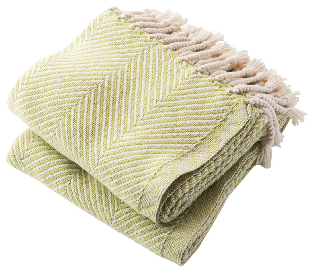 USA Made Cotton Herringbone Throw - Traditional - Throws - by Brahms ...