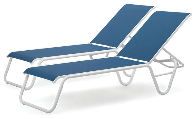 Lay-Flat Stacking Armless Chaises, Set Of 2, Cobalt.