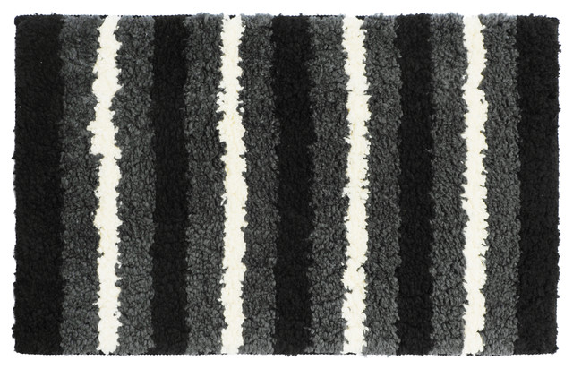 Black Gray And White Striped Bathroom Rug 18 Quot X28