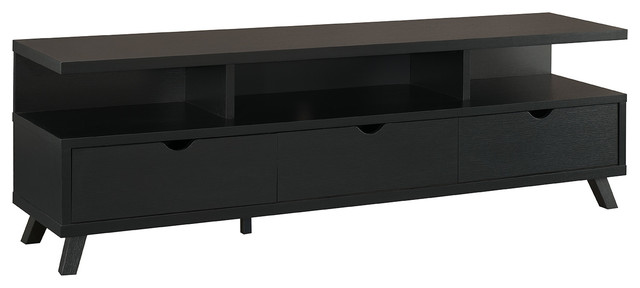 Smart Home 75 Inch Jet Black Tv Stand Media Edition