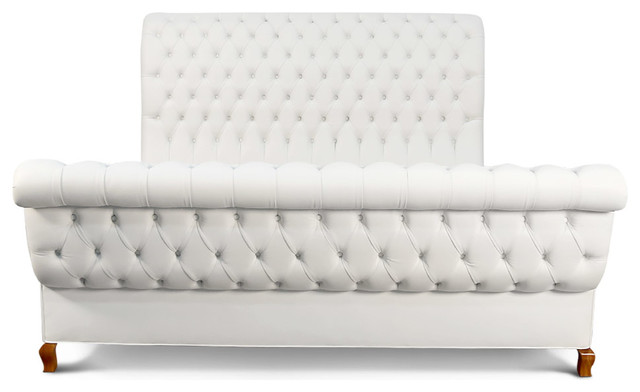Duncan Fife White Leather Bed, California King