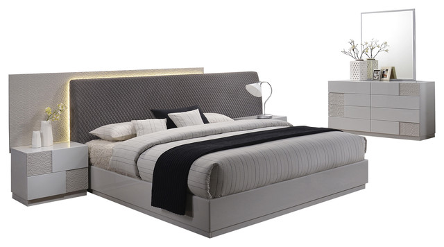 Naple Silver Line Gray 5 Piece Modern Platform Bedroom Set Contemporary Furniture Sets By Import Export Inc