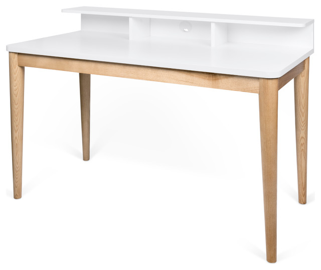 Xira Desk, Pure White/oak.
