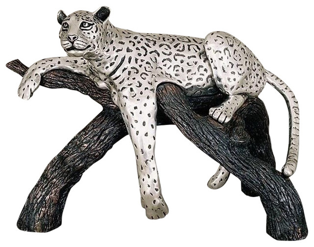 D Argenta Large Silver Plated Leopard On Branch