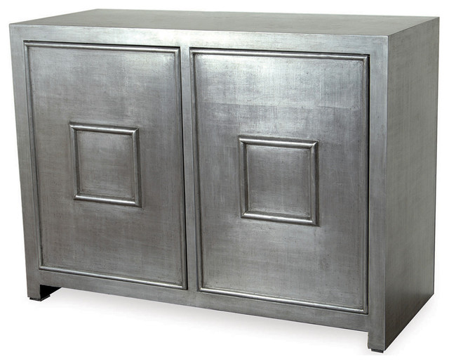 Park Avenue Hollywood Regency Style Silver Leaf Cabinet Transitional Storage Cabinets By Kathy Kuo Home
