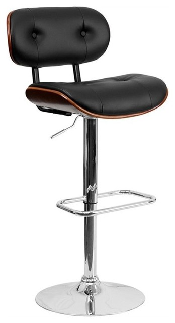 Flash Furniture   Eiffel Button Tufted Adjustable Swivel Bar Stool, Black  And Walnut