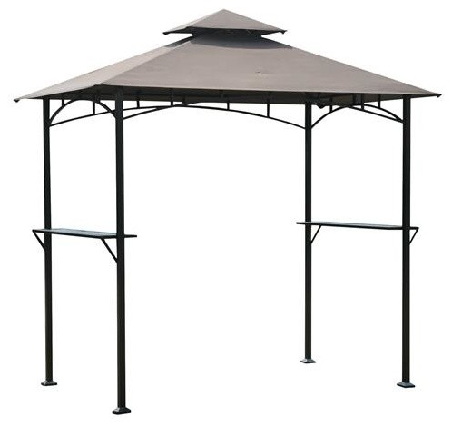 Steel Frame Outdoor Grilling Gazebo With Vent Top Canopy, 8&x27;x5&x27;.