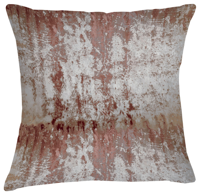 Mineral Velvet Cushion, Pale Red and Silver