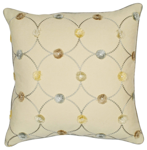 Puff Parchment Feather Throw Pillow With Removable Cover 20 Square
