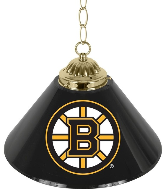 Single Shade Bar Lamp W Nhl Boston Bruins Log