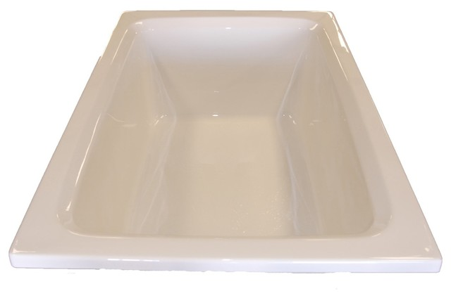 American Acrylic And Injection Rectangle Drop-In Combination Tub, Bone.