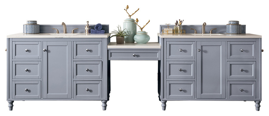 122 Double Vanity Set Silver Gray Makeup Traditional Bathroom Vanities And Sink Consoles By Luxx Kitchen And Bath