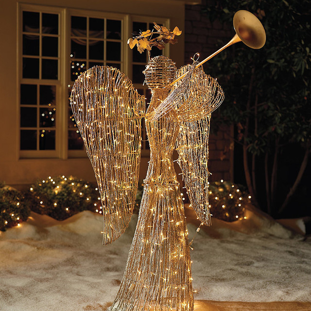 Lighted Rattan Trumpet Angel - Outdoor Christmas Decorations - Lighted Rattan Trumpet Angel - Outdoor Christmas Decorations