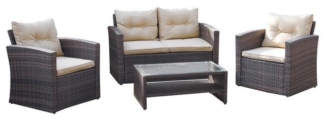 4-Piece Outdoor Conversation Sofa Set