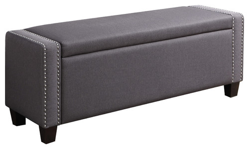 Delacora HM-DS-2178-132 Trespass 52-1/4 Wide Polyester Bedroom Bench with Conc