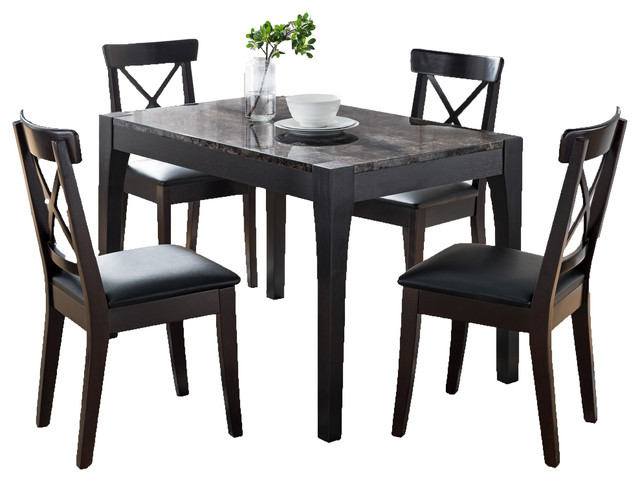 Smart Home Dining Table in Black and Faux Black Marble