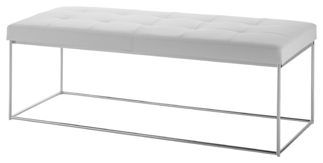 Caen Leather Bench White