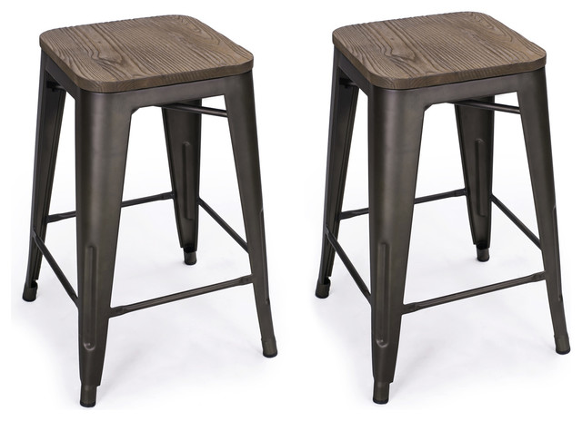 Metal Counter Stools With Wood Tops Seats Set Of 2 Black Bronze 24