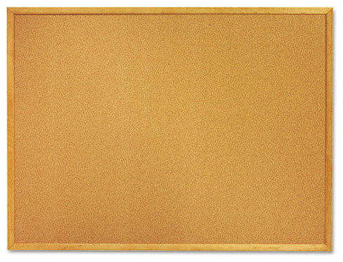 "7195012354161, Quartet Skilcraft Cork Board, 36""x24"", Oak Frame"