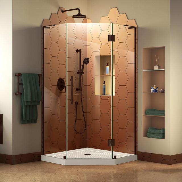 "DreamLine Prism Plus 36"" x 36"" Shower Enclosure, Bronze, White Base Kit"