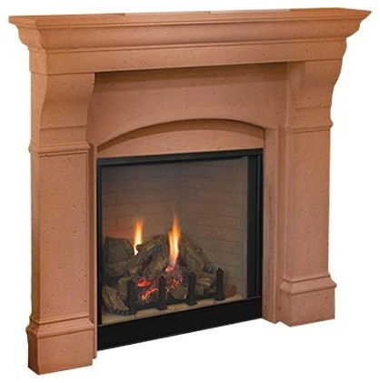 Superior 36 Dv Electronic Fireplace With Red Stacked Panels, Liquid Propane.