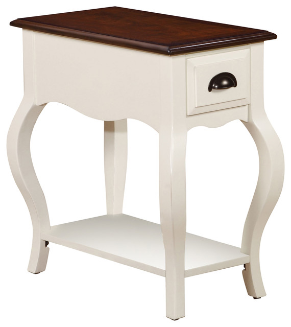 Woaton Side Table Antique Style White And Dark Oak Side Tables And End Tables By Acme Furniture